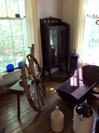 wagon wheel; cradle; folding bookcase