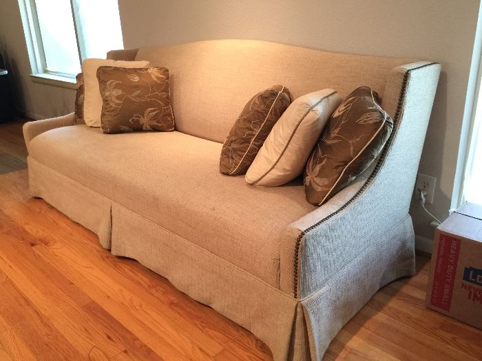 Custom Heavy Gauge Linen Couch with Nailhead Accents in Beautiful Condition.