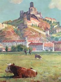 "Original Oil Painting by Slovak Artist Jozef HOLOUBEK. Circa 1930 (33.25""X44"" )."