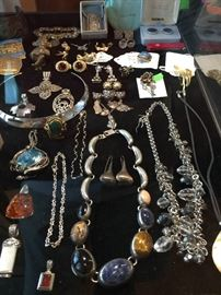 Costume Jewelry and Watches, Vintage and Retro to Sterling and Turquoise, Ethnic Beaded Jewelry to Richard Kerr Designer Earrings, Estee Lauder jeweled compacts to an Antique Bone Puzzle Ball.