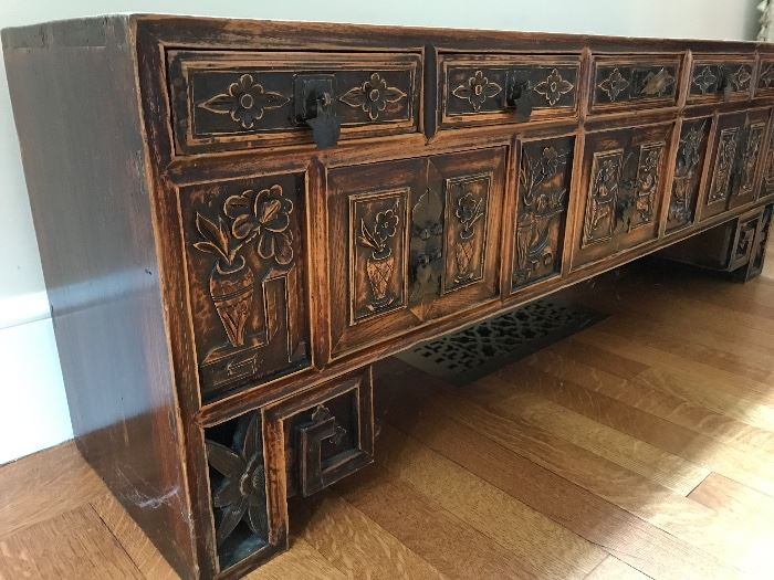Shangdon Carved Elmwood Miniature Table with 3 drawers and 7 shelves