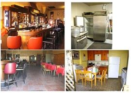 1930's Art Deco bar, industrial kitchen appliances, tables, chrome padded chairs, household items.
