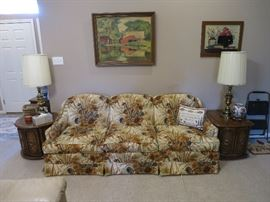 Vintage Couch, Artwork, Accent Tables, Stiffel Style Lamps