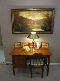 Very Nice Kent Coffey Office Desk, Chair, Vintage Touch Tone Phone,  Brass Torchiere Desk Lamp, Vintage Painting