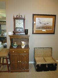Nice New England Clock, Microwave Kitchen Stand, Artwork-The Geese of Squaw Creek, Artist James Killen, Black Trunk
