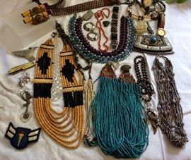 Antique Hand-strung Tibetan Necklace. Older Tibetan jewelry, patch, misc vintage jewelry