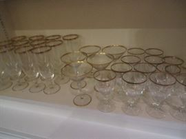 Large set lovely crystal with gold banding.