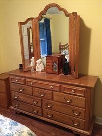Matching dresser with mirror