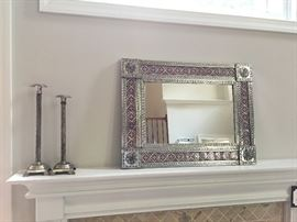 Hand Hammered Mirror & Candlesticks