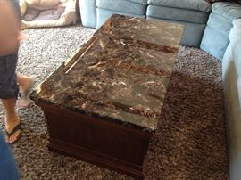 Marble Top Coffee Table/ with Under Bench