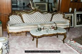 Living Room Sofa with Marble Coffee Table