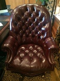Burgundy Swivel tufted Leather Chair