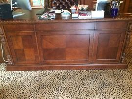 Walter E. Smithe Wood Carved/leather top Executive Desk