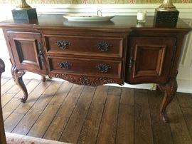 Bernhardt Side board wood carved & ornate handles