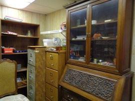 Oak File Cabinet; Carved Secretary Desk/Hutch