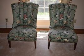 Beautifully Upholstered Matching High Tufted Back Chairs