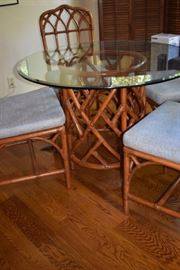 Beautiful Chinoiserie Breakfast Set featuring a set of 4 Bamboo Chairs & Round Glass Top Table with Wonderful  Bamboo Base.