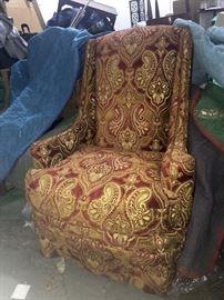 Pair-Century Arm Chairs w/Bronze Nail Heads