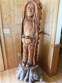 Carved wooden Indian. Signed RS. From Texas