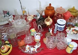 Tables of Vintage Glass and Ceramics