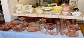 Pink Depression glass and Vintage Pyrex