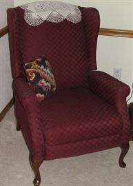 Burgundy Upholstered Queen Anne Winged Back Recliner Chair