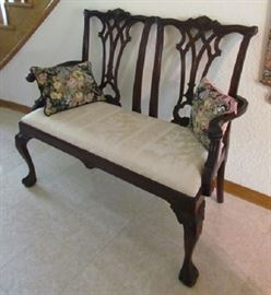Chippendale Style 2-Seater Settee with Ball & Claw Feet