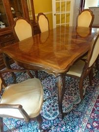 """Thomasville Dining Room Table with 2 leaves and pads;  8 Chairs and China Closet.  Table:  72""""Lx44""""Dx30""""H.  92"""" L with two leaves."""