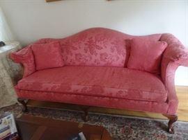 Ethan Allen Camelback Pink Damask Sofa
