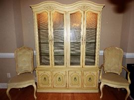 Thomasville painted French style lighted china cabinet, with 2 arm chairs (part of dining room set)