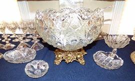 Unique Vintage Pressed Glass Punch bowl with Brass pedestal, 12 cups & ladle