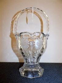 Antique Heisey marked crystal etched basket