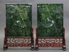 pair of Chinese carved spinach jade plaques