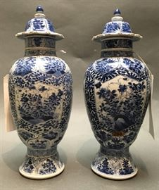 pair of Chinese blue & white porcelain cover vases, 18th c.