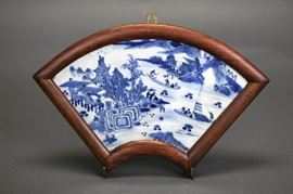 Chinese fan shaped porcelain plaque mounted in fitted wooden frame, Qing dynasty