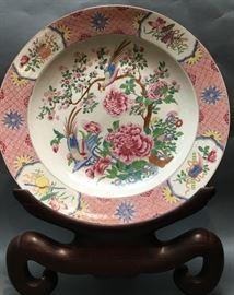 large Chinese famille rose porcelain plate, 18th c.