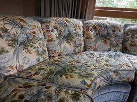 1960's Unique Birds of Paradise Silk Brocade Sectional Sofa with Velveteen Trim. Very comfy!!