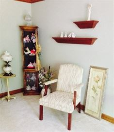 Handpainted Hurricane Lamp; Handpainted Side Table; Tall & Narrow Display Cabinet with Light; Collection of Madame Alexander Dolls; Silk Flowers, Wall Decor; Ivory Upholstered Side Chair; Lefton Little Girl Figurines