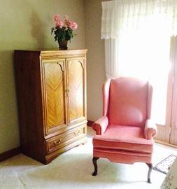 Wood Armoir; Silk Flowers; Pair of Pink Velvet Wingback Chairs