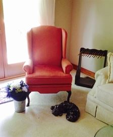 Pair of Pink/Rose Velvet Wingback Chairs; Handcrafted Newspaper Stand; Large Ceramic Lying Dog; Silk Floral Arrangement