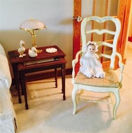 Pair of Wood & Glass Nesting Tables; Large Celluloid Baby Doll; French Provincial Handpainted Side Chair with Rush Seat;  Lovely table decor and Pretty Pink Glass and Brass Lamp