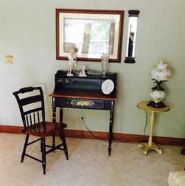 Vintage Ethan Allen Heirloom Collection Hitchcock Desk with Chair; Limited Edition Barbie with Box; Handpainted Side Table; Hurricane Lamp; Leaded Glass Vase; Precious Moments; Wonderful Wall Decor & Mirror