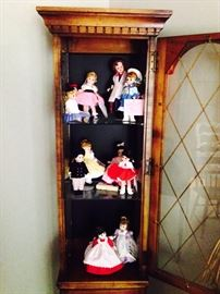 Collection of Madame Alexander Dolls with Boxes; Display Cabinet
