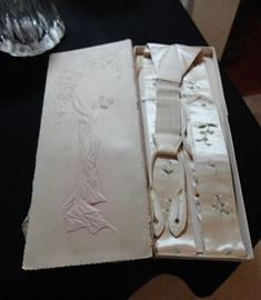 Beautiful men's wedding suspenders - circa 1880 - in original box - stunning!