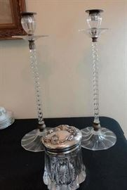 Pair tall glass candlesticks - unsigned - great condition