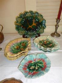 Assorted Majolica pieces