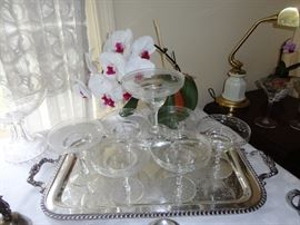 Shrimp cocktail glasses on silver plate tray