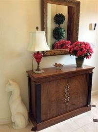 """Entry Side Table. 42"""" W x 31 1/2"""" H x 14"""" D. Entry Mirror 29"""" W x 34"""" H."""