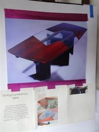 CUSTOM CRAFTED DESIGNER DINING OR CONFERENCE TABLE, EXPANDS, MAHOGANY AND GLASS.