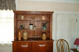 Pine Step Back Cabinet,Whiskey Jugs,Crocks,etc...